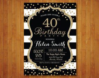 40th Birthday Invitation for women. Surprise 40th Birthday. Black and Gold Glitter. Black Stripes. Confetti. Any age. Printable Digital.