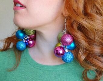 christmas earrings dangle, christmas party earrings, READY TO SHIP ugly sweater party earrings, holiday earrings, christmas earrings gold,