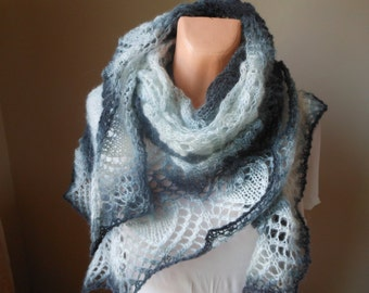 Lace shawl mohair yarn  grey white, hand knitted