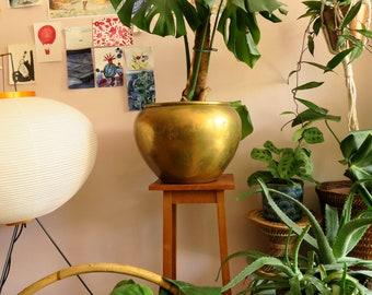 Large brass planter flower pot, round vintage brass pot big plant holder, boho bohemian urban jungle