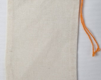 25 3x5 Cotton Muslin Red Hem and Orange Drawstring Bags