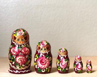 Vintage Wooden Nesting Dolls, Pink Russian Matryoshka Dolls