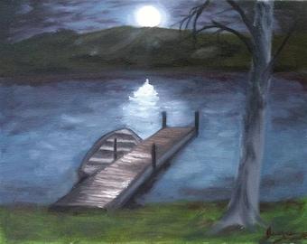 The Lake At Night Painting
