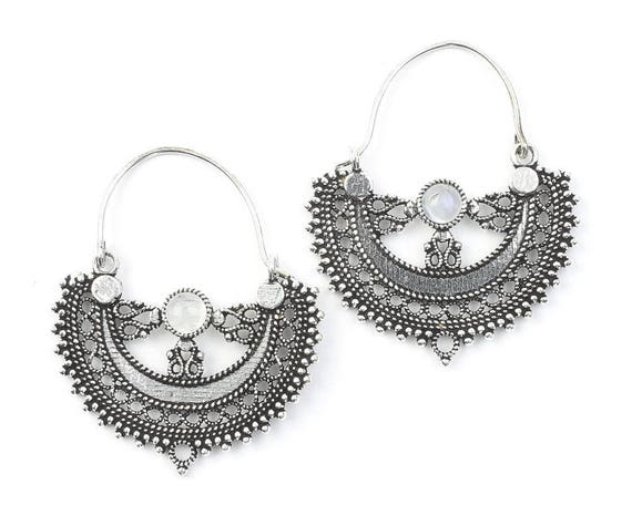 Manado Moonstone Earrings, Moonstone Mandalas, Gemstone Jewelry, Mehndi Brass Earrings, Festival Earrings, Gypsy Earrings, Ethnic Earrings