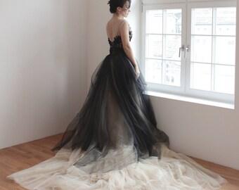 Black-Nude tulle wedding dress,Unique wedding dress,Bohemian wedding gown,Tulle wedding dress,Whimsical wedding dress - Raysie