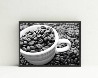 Coffee Photography Digital Download - Coffee Beans Printable - Black White Coffee Photography Digital Download - Coffee Beans Kitchen Decor