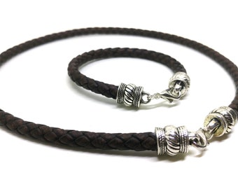 Genuine leather jewelry set!Brown cord leather necklace!Boho jewelry set!Charm necklace!