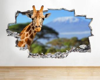 Giraffe Animal Funny Zoo Kids Safari Smashed Wall Decal 3D Art Stickers
