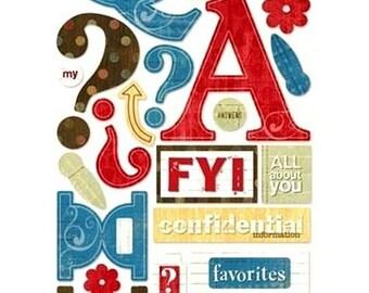 Alphabet ABC chronicles 32 x 14 cm scrapbooking cardmaking Sandylion stickers creative home decor
