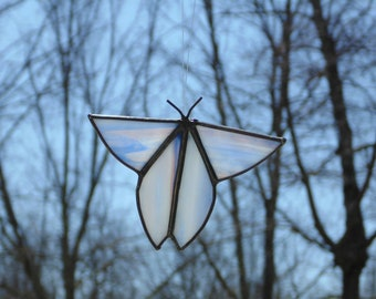 Stained glass butterfly suncatcher ornament, blue pink, hanging butterfly, Spring home decor, Mothers day gift