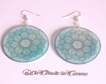 Mandala earrings, black and blue hoop earrings