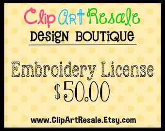 Digital Embroidery License  - One time fee!  BONUS 20.00 worth of FREE clip art!