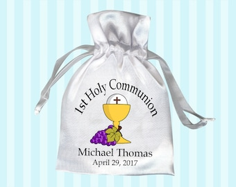 First Communion Favor Bag - Chalice with Grapes  (Pack of 10)