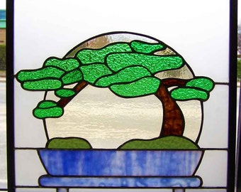 Bonsai: peaceful stained glass hanging