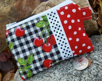 Cherry Coin Purse, Gingham Zipper Wallet, Cherry zipper wallet, ear bud pouch, feminine pouch, cherry change purse, credit card pouch
