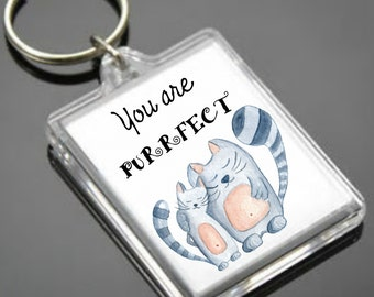 Cat Keyring - Watercolour Cat Keyring - Valentines Day  - Cat - Valentines Gift - Keychain - Cat Keychain - Acrylic keyring - gift for him
