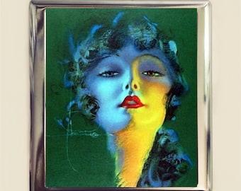 Flapper Cigarette Case Business Card ID Holder Wallet Art Deco 1920s Jazz Age Roaring 20s Green