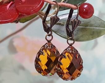 Topaz Crystal Earrings - Art Nouveau Jewelry - Gold Crystal Teardrop Earrings - Rhinestone Earrings Vintage - Long Dangle Earrings E3900