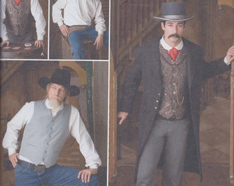 Simplicity 2895 Mens Steampunk Western Coat Shirt Vest UNCUT Sewing Pattern