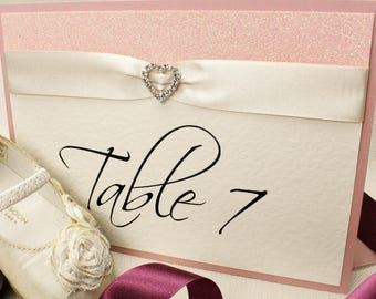 All That Sparkles SINGLE SIDED hand crafted table numbers/names *with diamante & glitter detail*