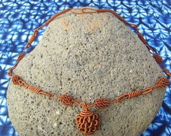 Fabric - Brown - necsene02 wire necklace