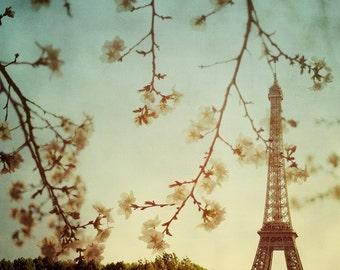 "Paris Eiffel Tower Decor, Paris Print, French Decor, Paris Photography, Romantic Wall Art, Eiffel Tower Photo, Spring 8x8 ""Printemps"""