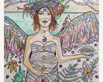 GAIA'S Magical SEEDS, art print, painting, Sacred Feminine, Mother Earth, Nature art, Seasons, Elements, Energy, Chakras, Angel Healing, Zen