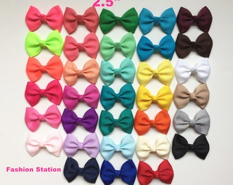 10 Dollar for 10 little basic hair bows -Set of 10 pcs 2.5 inch solid Bows, Birthday Bows,infant hair bows.Wholesale, 33 colors to choose