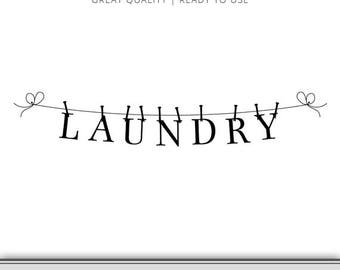 Laundry Clothes Line Wall Graphic - Laundry Room Wall Art svg - Laundry SVG - Instant Download - 7 Formats Ready to use!