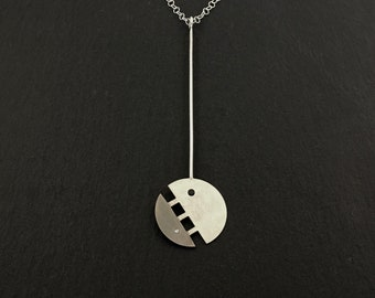 Modern Y necklace,Gemstone Y Necklace,Black and white stone necklace