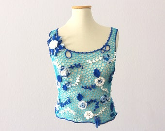 Blue crochet top, exclusive summer top, blue shades top, boho crochet top, sexy top, irish crochet top, lace top, sleeveless tops