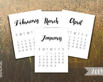 2019 Calendar Printable 3x4 Journal Cards // Desk Calendar Planner Printables // Instant Download // Mini Printable Calendars For Crafting