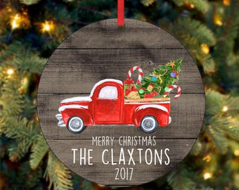 Family Christmas Ornament, Personalized Christmas Ornament, Custom Ornament, Red Truck Christmas Ornament, 2017 Ornament (0054)