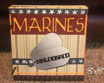 Personalized Military Mini Paperbag Scrapbook Album --Army, Air force, Coast Guard, National Guard, Navy, Marines