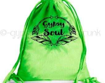 Gypsy Soul Tote Bag, Gypsy Tote, Hippie Tote Bag, Festival Tote, Festival Bag, Feather Print Tote Bag, Drawstring Tote, Hippie Bag
