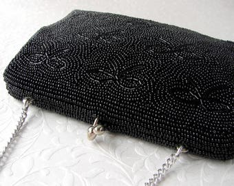 1950s Vintage Black Beaded Purse Bows Formal Handbag Clutch Kiss Clasp Jet Glass Bead Evening Bag Wedding Cocktail Party Prom Made In Japan