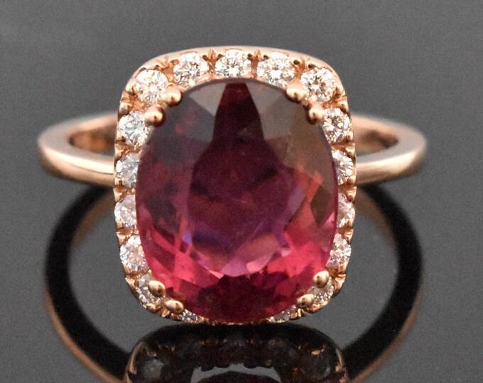 14K Rose Gold Pink Tourmaline and Diamond Ring | Engagement Ring | Wedding Ring | Statement Ring | Diamond Halo | Handmade Fine Jewelry