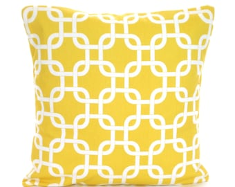 Yellow White Pillow Cover, Decorative Throw Pillows, Cushion Covers, Corn Yellow White Geometric Gotcha, Couch Bed, One or More ALL SIZES