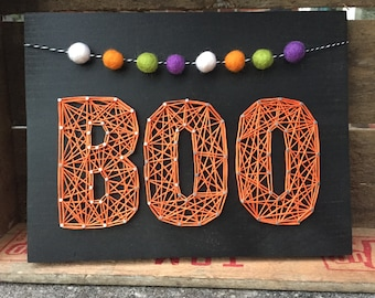 MADE TO ORDER String Art Boo Sign with Halloween-Colored Pom Garland