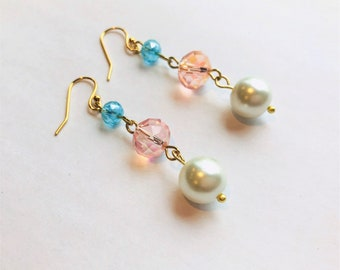 Blue Crystal, Pink Crystal, & Glass Pearl Gold Dangle Earrings