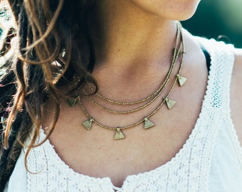 Layered Gold Necklace, Multi strands necklace, Delicate necklace, Bohemian jewelry, Festival necklace, gold Wedding necklace, triangle charm