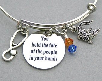 """Stainless Steel Engraved Charm,""""You Hold The Fate Of The People In Your Hands"""", Medical Degree, University Of Florida, Gator Charm,Grad Gift"""