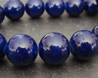 Fossil Beads 8mm Natural Navy Blue Smooth Round Stones - 16 Pieces