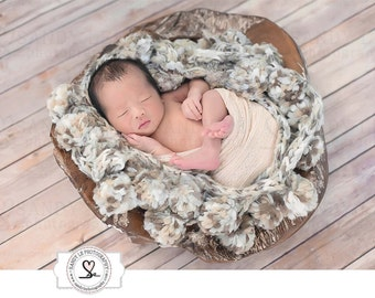 Newborn Digital Backdrop - Wood Bowl with Wood Flooring Background Composite