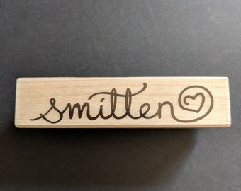 Smitten Wood Mounted Rubber Stamp