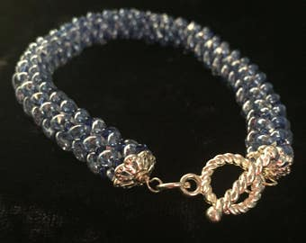 Herringbone Variation Woven Glass Bead Bracelet