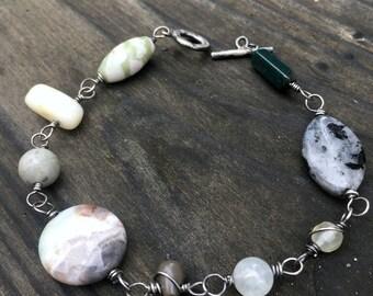 Gratitude bracelet oxidized sterling silver mixed gemstones prayer mala for the wrist