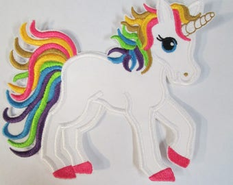 Rainbow Unicorn Iron on Or Sew On Applique - Fabric Embroidered Patch -- TWO NEW SIZES Added