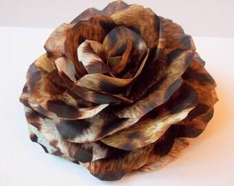 Leoprad Silk Rose Flower Brooch and/or Hair Pin