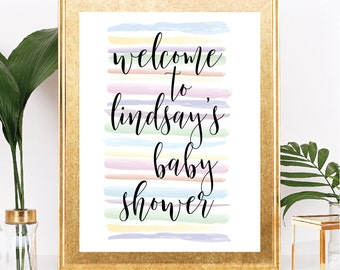 Welcome Baby Shower Sign - Customizable Text - Pastel Rainbow Stripes with Cursive Script - Printable - 8.5x11 Digital Download
